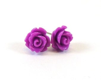 Orchid Purple Earrings  10mm Deep Lilac Violet Rose Cabochon Titanium Stud Earring Pair  Hypoallergenic Minimalist Jewelry