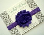Chic Purple Shabby Frayed Chiffon Flower Rosette on Shimmery Elastic Headband - Newborn Baby Toddler Girl Teen Adult - Photo Prop