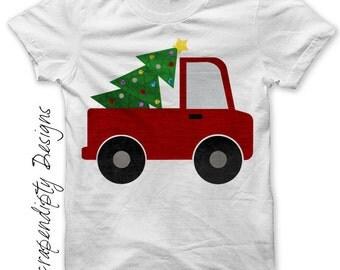 Christmas Outfit Iron on Transfer - Iron on Truck Shirt / Christmas Tree Truck T-Shirt / Holiday Kids Clothing / Boys Christmas Shirt 481