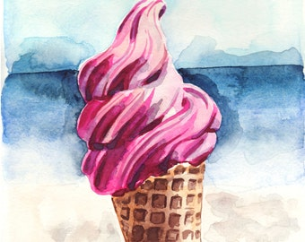 Pink Ice Cream Art Beach Art ORIGINAL Watercolor Painting California Summer Ice Cream Cone Art Ice Cream Art Ice Cream Print Pink Pretty Art