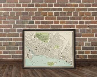 Antique Montreal  map  - Archival fine print
