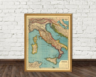 Map of Italy  - Vintage Italy map  archival print - Wonderful wall map for home decoration