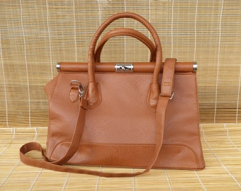 Vintage Lady's Brown Faux Leather Medium Size Hand Bag Purse Shoulder Strap