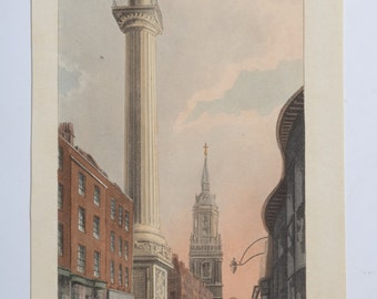 """Antique Etching ca. 1812 """" The Monument """" Repository of Arts, London, England. PAPWORTH, JOHN B."""