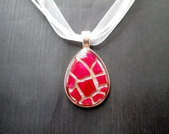 Red Pink Dichroic Stained Glass Mosaic Necklace