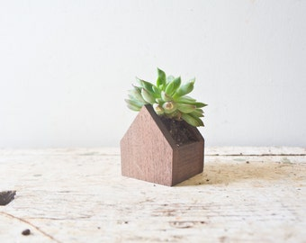House Planter Pot - Walnut Wooden Herb Succulents Box Container Succulent Flower Wooden Planter Handmade Air Plant
