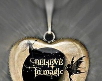 Moonlit Fairies Glass Heart Pendant