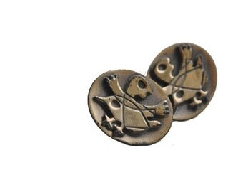 AMERICAN Hogan Bolas Signed Modernist Bronze Abstract Mid Century Modernist Earrings