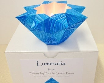 Small Luminary - Hand-painted, Origami-folded Paste Paper - Denim Blue
