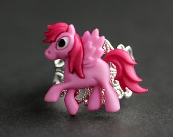 Pink Pony Ring. Pegasus Ring. Pink Horse Ring. Hot Pink Ring. Adjustable Ring. Handmade Ring. Button Ring. Silver Ring. Handmade Jewelry.
