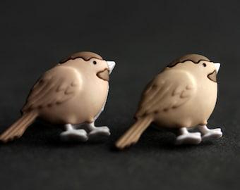 Bird Earrings. Chickadee Earrings. Brown Bird Earrings. Bronze Earrings. Brown Earrings. Bird Jewelry. Nature Jewelry. Handmade Earrings.
