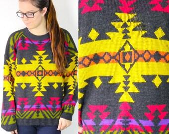 Vintage Retro Aztec Southwest Patterned Sweater