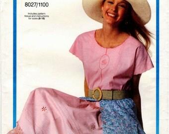 Vintage UNCUT Viking/Vogue Pattern 8027/1100 - Very Easy Misses/Misses Petite Top & Skirt - Sizes 8-18