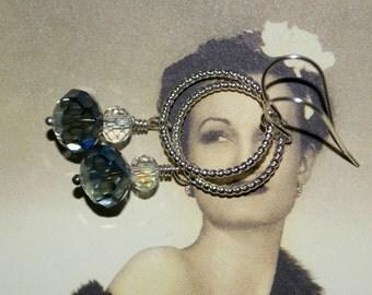 Silver Hoop Earrings, Long Drop Earrings, Twisted Hoops, Czech Crystal Earrings, Blue Crystal Earrings, Blue Drop Earrings, Crystal Jewelry