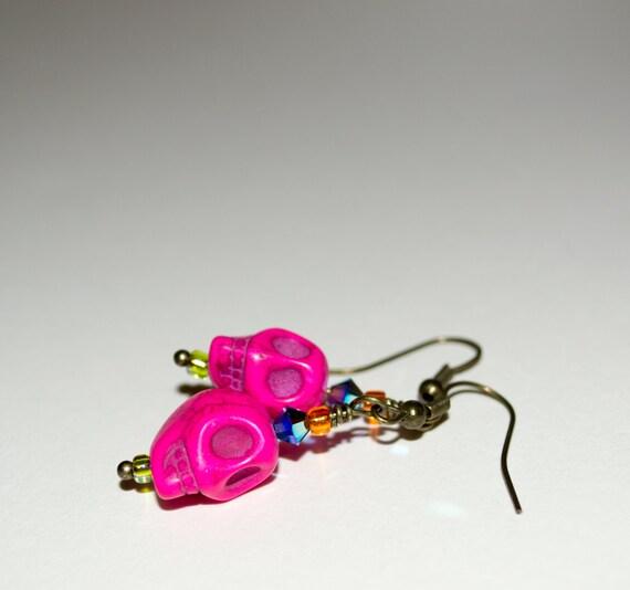Skull Earrings, Pink Skull Drop Earrings, Day Of The Dead Jewelry, Dia De Los Muertos, Skull Jewelry, Bright Skulls, Hot Pink Drop Earrings