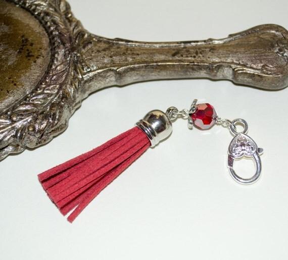 Tassel Keyring, Boho Tassel Clip, Cranberry Red, Purse Accessories, Tassel Key Charm, Zip Pull, Bag Charm, Tassel Zip Pull, Boho Purse Charm
