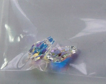 6 Pcs Teardrops Swarovski Crystals (6000) Clear ab