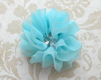 "Aqua Hair Flower - Aqua Flower Clip - 2 1/4"" MOLLY FLOWER - Chiffon Hair Flower - Hair Flowers - Rhinestone Flower"