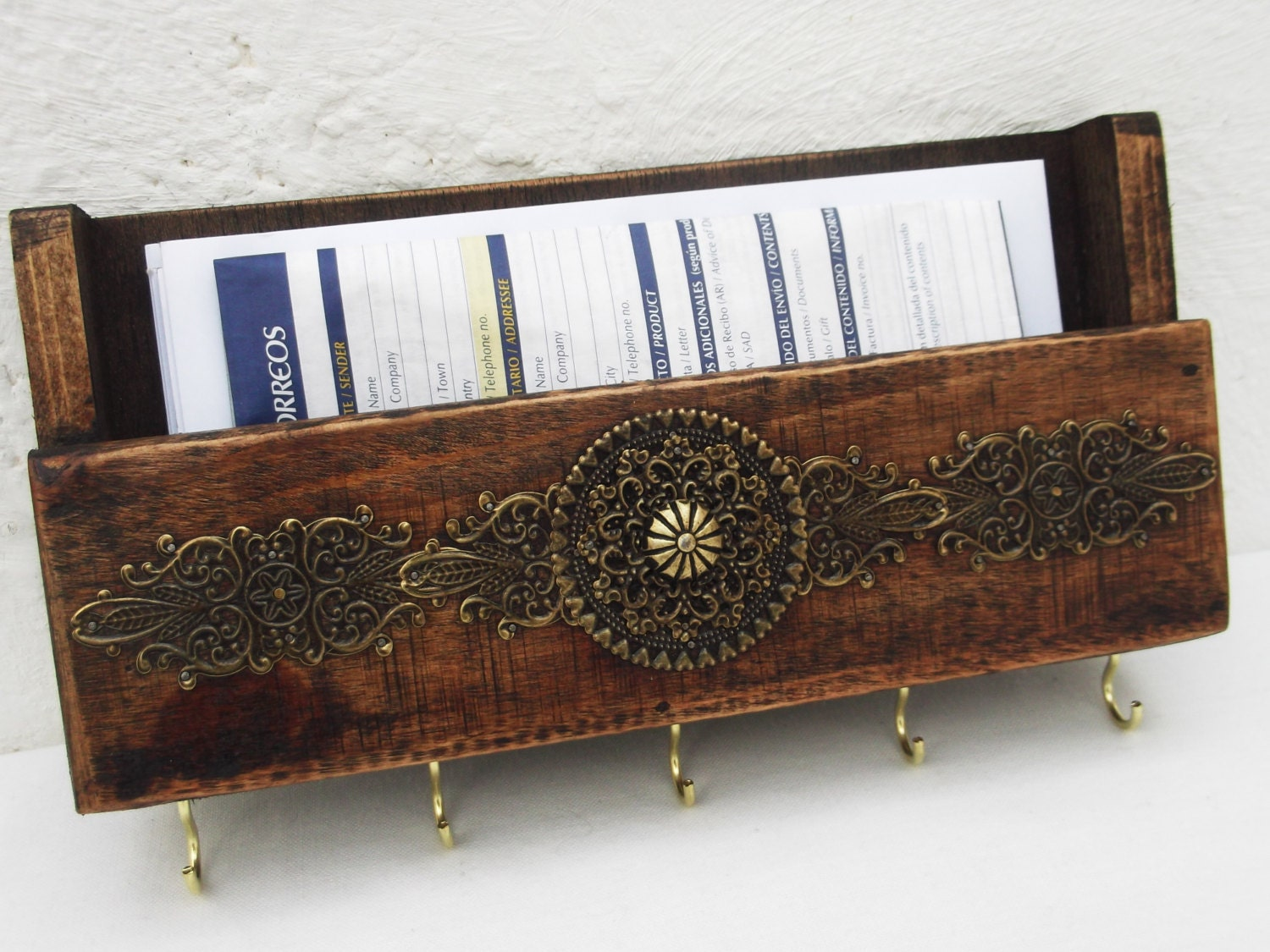 Rustic mail holder and key rack wooden wall by regalosrusticos - Mail holder and key rack ...