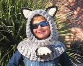 Crochet Pattern 120 - Crochet Hooded Cowl with Ears - Crochet Patterns Wolf Fox Cat Bear Cowl Animals Hat Costume Winter Hat Neck Warmer