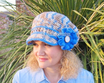 Crochet Pattern 071 - Newsboy Hat - Mirage - Visor Slouchy Hat Toddler Child Teens Adult Boys Girls Women Men Visor Winter Hat Autumn Spring