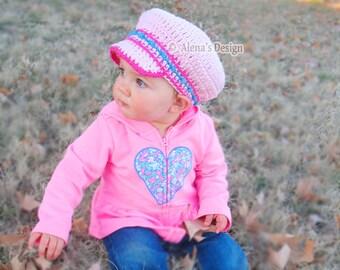 Crochet Pattern 102 - Crochet Hat Pattern - Newsboy Baby Hat - Visor Slouchy Hat - Baby Boy Baby Girl Visor - Baby Booties - Mary Jane Shoes