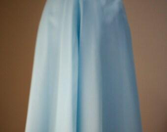 vintage 70's blue alice in wonderland sash bow flowy chiffon woman