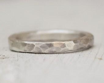 Sterling Silver Hammered Band -  Men Women Unisex Ring  - Modern - Gift For Her - Hammered Ring