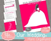 Our Wedding. More Organized. - Complete Wedding Planner INSTANT DOWNLOAD - Hot Pink/Fuchsia