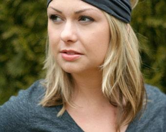 Charcoal Black Knit Turban Wrap Headband