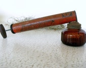 Spra-Well Bug Sprayer Vintage Amber Glass Wood Handle Pump