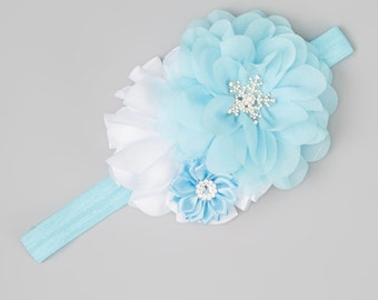 Blue and White Frozen Cluster Flower Headband, pretty flower headband for all ages by Lil Miss Sweet Pea