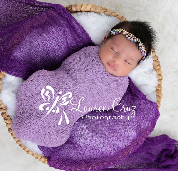 Lilac Swaddle and Purple AND/OR Gold Rhinestone Tear Drop Headband for girls, newborns, Iris, baby, bebe fotografia, Lil Miss Sweet Pea