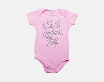 She Is Loveliness Itself   Jane Austen Baby Onesie