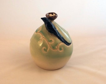 Decorative Lidded Jar with Bird and Nest with Eggs