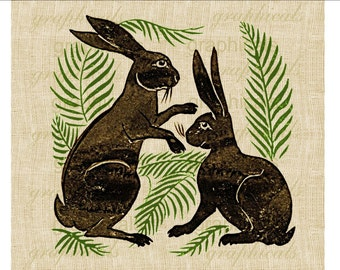Antique brown rabbits Green fern instant Digital download image for iron on fabric transfer burlap decoupage pillows tote bags card No. 2201