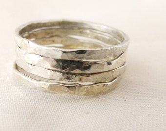 Hammered Sterling Silver Stack Rings Set of Four