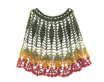 Green Poncho Hand Crocheted size L XL Leaves Cape Yellow Red Leaf
