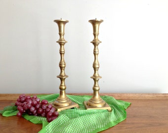 Vintage Tall Brass Candlesticks Brass Candle Holders
