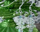 Swarovksi Christmas Tree Earring Kit in Crystal AB and Ice Blue Rainbow Ice Holiday Yule