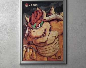 KING KOOPA - Bowser - Super Mario Bros Villain - Original Art Poster