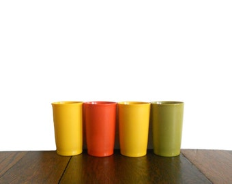 Vintage Tupperware Tumblers 1970s Set of Four Short Plastic Cups - Yellow Orange Green - Fall Kitchen Tupperware - Harvest Decor