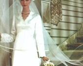 Vintage long-sleeved wedding dress & veil pattern -- Vogue Bridal Design 1487