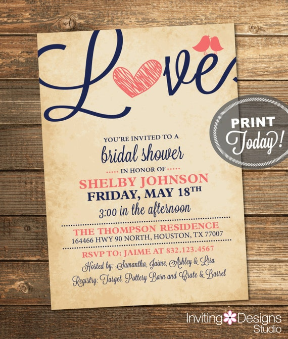 Rustic Bridal Shower Invitation - Navy and Coral