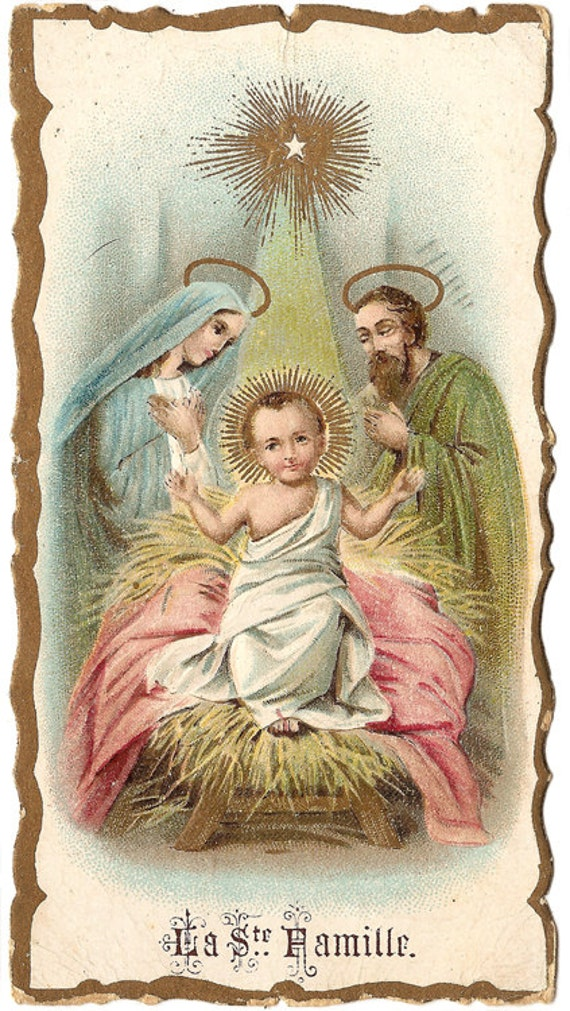 Antique french holy prayer card baby jesus in manger holy family