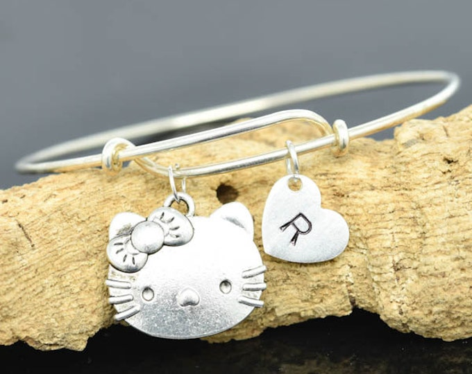 Cat Bangle, Sterling Silver Bangle, Cat Bracelet, Bridesmaid Gift, Personalized Bracelet, Charm Bangle, Monogram, Initial Bracelet