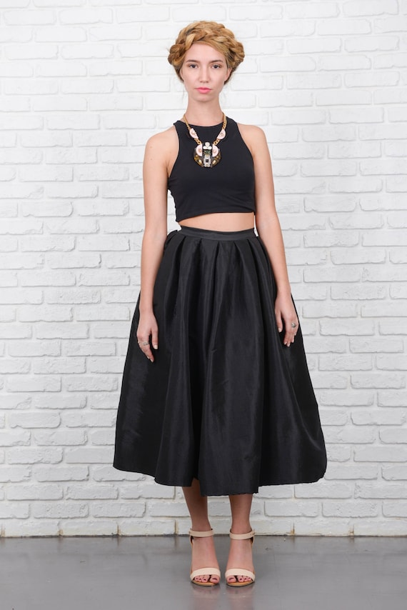 vintage 80s black a line skirt retro high waist by