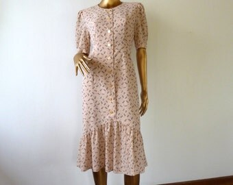 30% OFF Floral tea dress 80s chiffon pastel