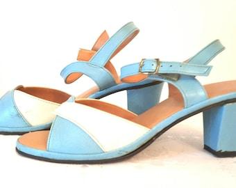 Vintage Size 7 - 8  Women's Shoes Blue White LeatherSandals Retro Sandals Vintage Strapped Sandals Shoes  Blue Slingback Shoes