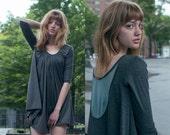 Mesh Detail Tunic - Charcoal/Teal, Light Grays, White, or Black   Small, Medium, Large